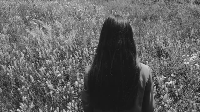 Horror atmosphere with one long haired woman in wildflowers field video
