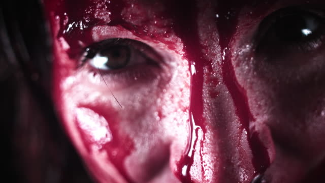 4K Horror Bloody Woman Close-up Eyes video