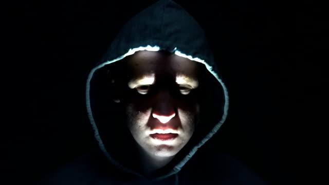 Horror scene man face. Scary evil many faces. Devil spiritual exorcism video