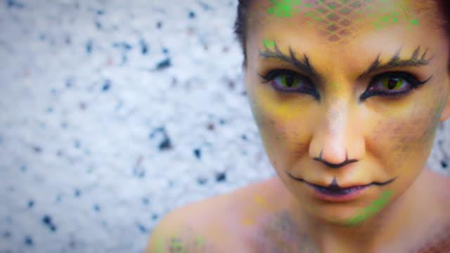 4k horror serpent makeup woman portrait - ветхий завет стоковые видео и кадры b-roll
