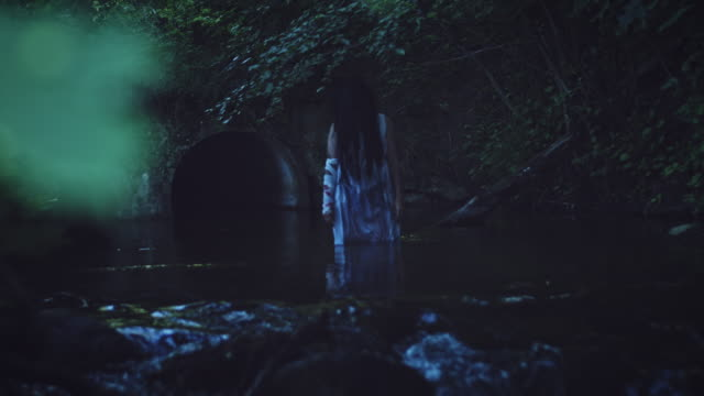 4K Horror Woman in River, reverse video