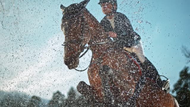 vídeos y material grabado en eventos de stock de speed ramp caballo saltando sobre un riel y a través de una cortina de agua - valla artículos deportivos