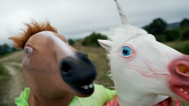 Horse selfie People wearing horse and unicorn head masks are walking on the meadow during overcast day. mask disguise stock videos & royalty-free footage