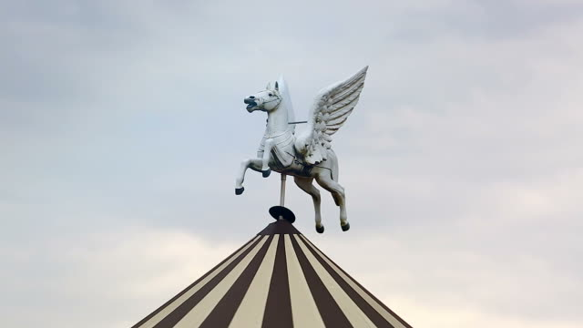 Horse Statue on the Roof of the Carousel video