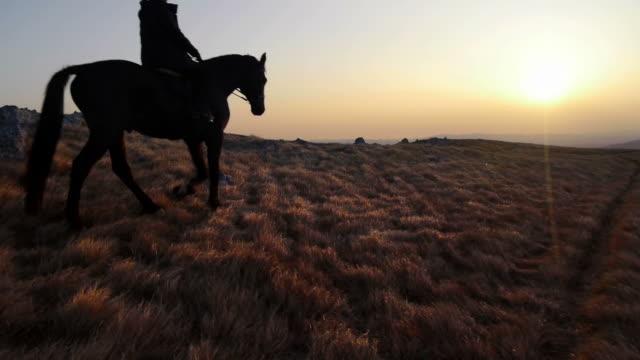 HD: Randonnée à cheval au coucher du soleil - Vidéo