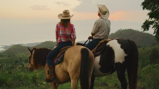 Horseback Riding at Sunset Couple horseback riding at sunset cowgirl stock videos & royalty-free footage