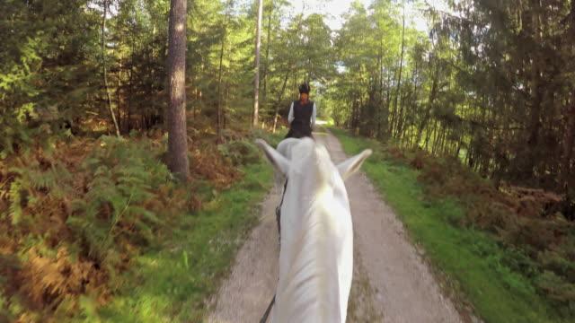 "vídeos de stock, filmes e b-roll de pov passeios a cavalo no branco cavalos de corrida"""" - cavalgar"