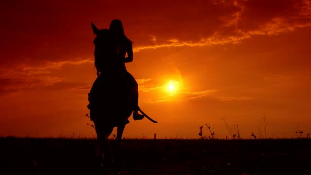 Horseback riding to the horizon at sunset video