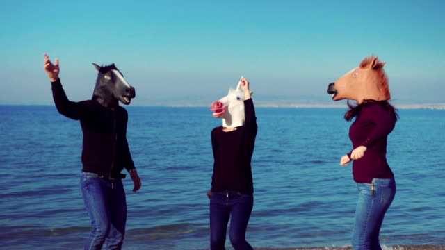 Horses dancing on the beach video