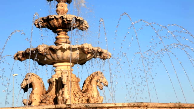 Horses statue fountain Horses statue fountain in Andalusia, Spain neoclassical architecture stock videos & royalty-free footage