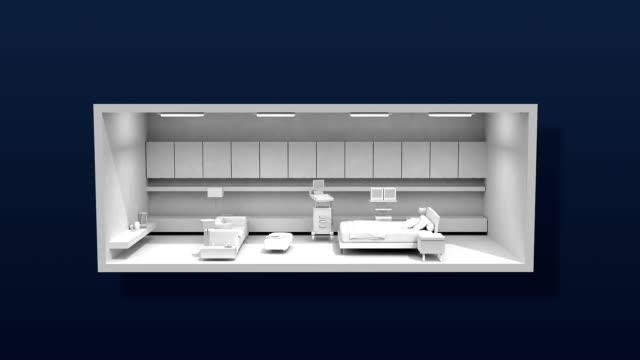 Hospital surgery operation room, infirmary, white. video