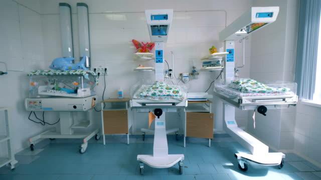 krankenhauseinheit mit neugeborenen in kisten - krankenstation stock-videos und b-roll-filmmaterial