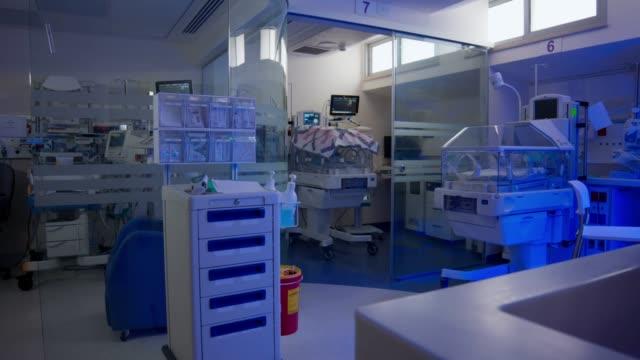 Hospital ward for prematurely born infants with ultraviolet lighting