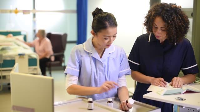 hospital ward meds meds trolley nurses nhs stock videos & royalty-free footage