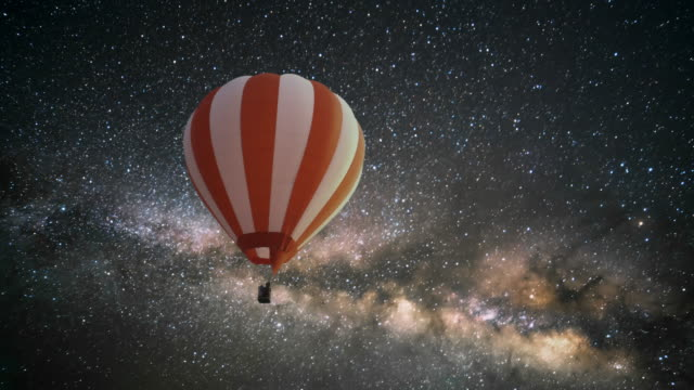 Hot Air Balloon at night with milky way. video