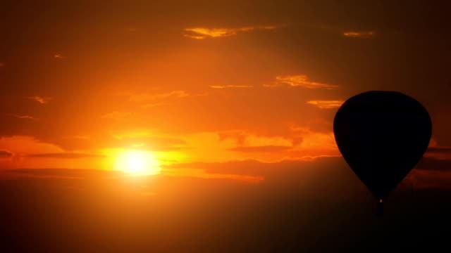 Hot Air Balloon at sunset. video