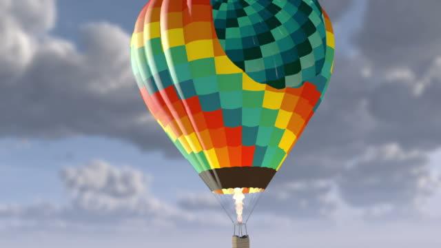 3D. Hot Air Balloon Basket in Flight 4K. Ultra HD. video