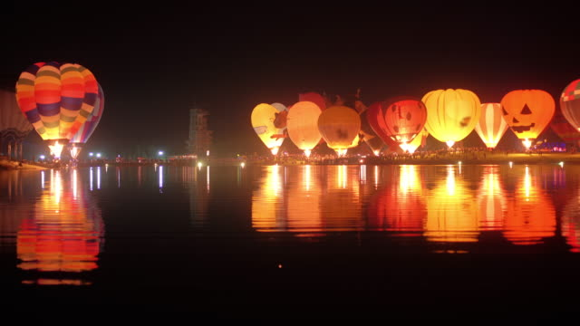 Hot Air Balloon Festival Hot Air Balloon Festival at night inflation stock videos & royalty-free footage