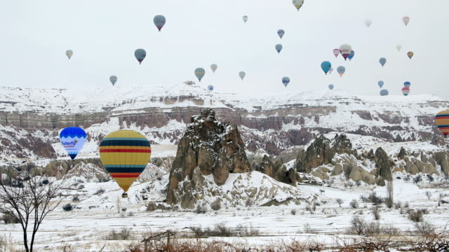 Hot Air Balloon Over Goreme Valley At Winter video