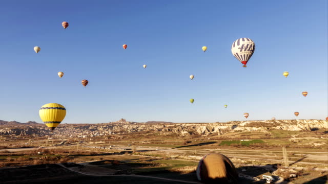 Hot Air Balloons Flying in Cappadocia, Turkey