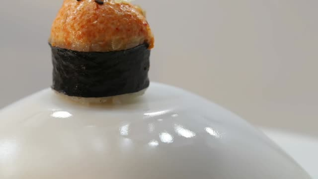 hot baked sushi rolls close up