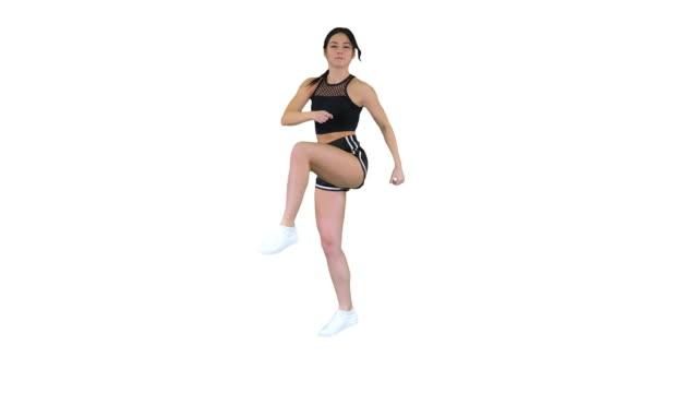 Hot b-girl dancing on white background