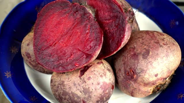 Hot boiled beetroot.Shooting in kitchen.