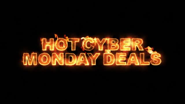 hot cyber monday deals text on fire - cyber monday стоковые видео и кадры b-roll