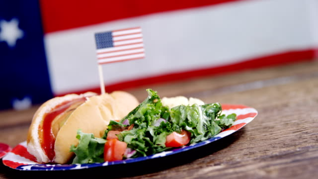 Hot dog french fries and hamburger served on plate against American flag video