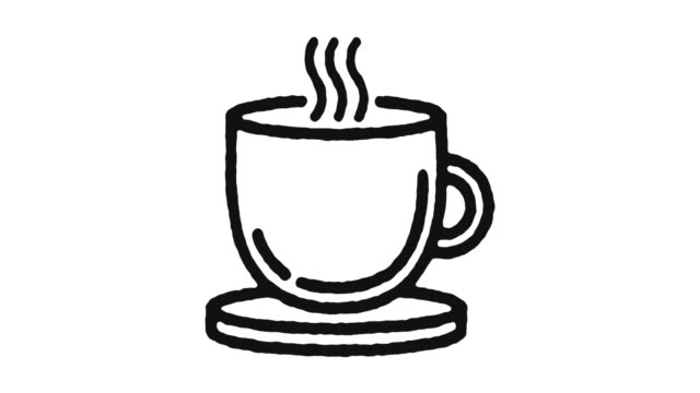 hot drink icon animation footage & alpha channel - heißes getränk stock-videos und b-roll-filmmaterial