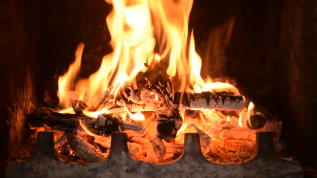 Hot fireplace full of burning wood Hot fireplace full of burning wood and fire fireplace stock videos & royalty-free footage