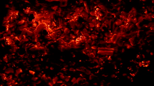 hot glowing coals flaming hot - furioso video stock e b–roll