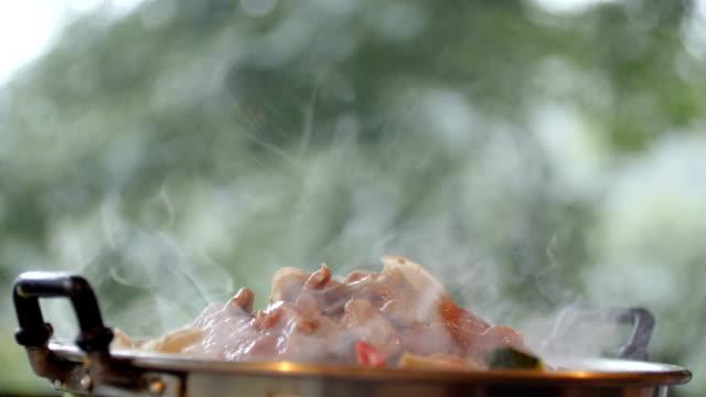 vídeos de stock e filmes b-roll de hot pot grill. - burned oven