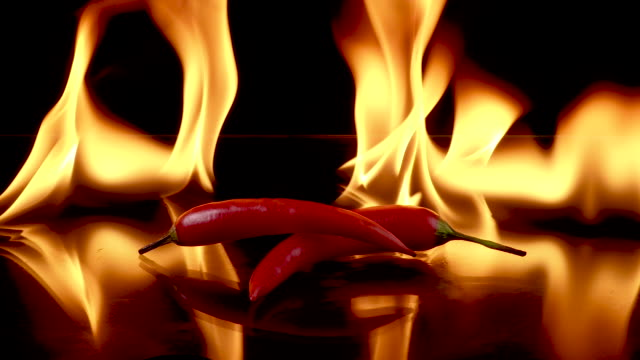 hot red chili peppers in flames burn - chilli con carne video stock e b–roll