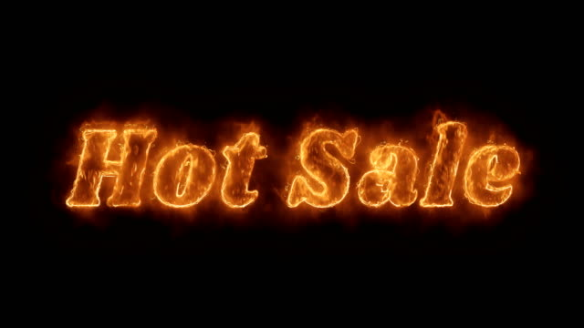 hot sale word hot animated burning realistic fire flame loop. - sales video stock e b–roll