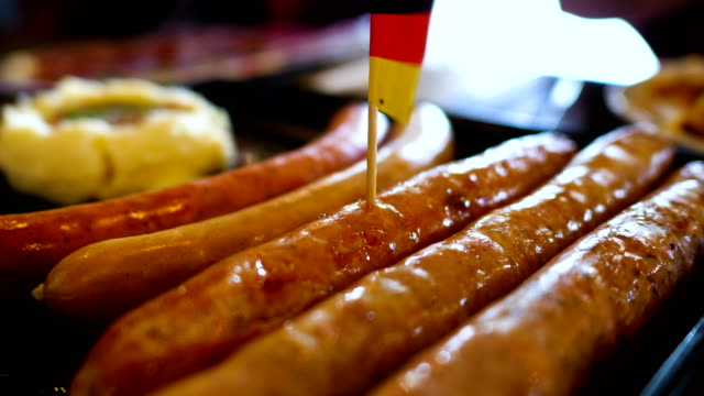 Hot sausage in pan serve with mashed potato video
