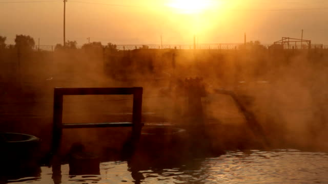 hot spring at sunrise, Genichesk, Ukraine video