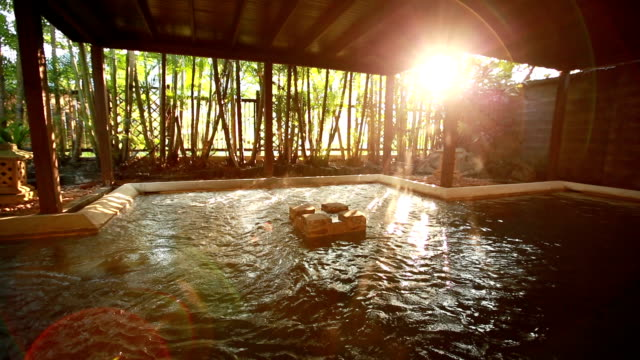 hot spring at sunrise video