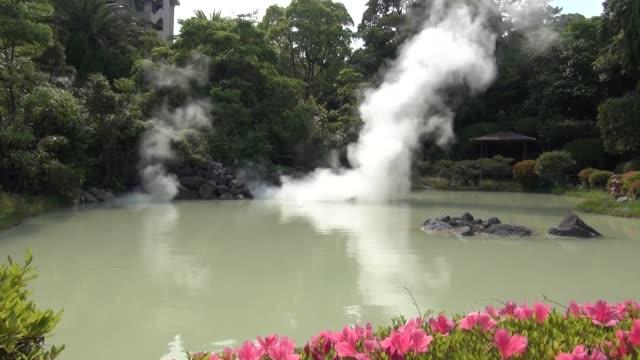 벳푸 오이타, 일본 (지 열 스파) 온천 - 스파 온천 스톡 비디오 및 b-롤 화면