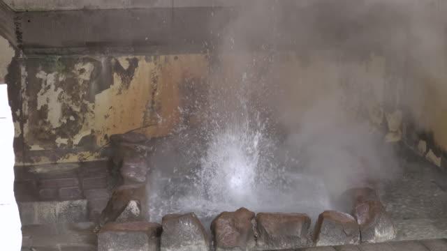 Hot spring in Jigokudani or Hell Valley on Hokkaido, Japan stock video
