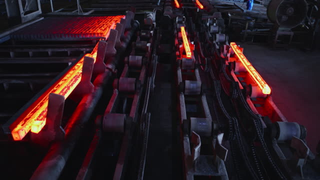 Hot Steel Billets being Stacked at a Steel Factory