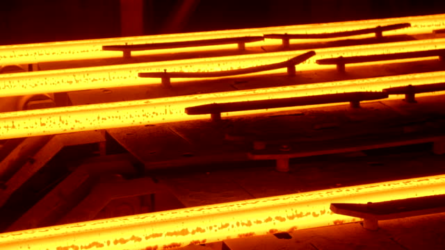 Hot steel billets continuous casting at a metallurgical plant video
