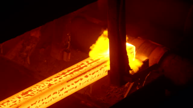 Hot steel billets continuous casting at a metallurgical plant Hot steel billets continuous casting at a metallurgical plant, iron and steel works iron metal stock videos & royalty-free footage