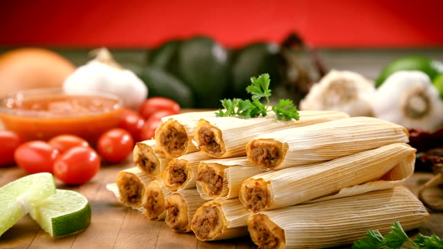 Hot tamales on cutting board video