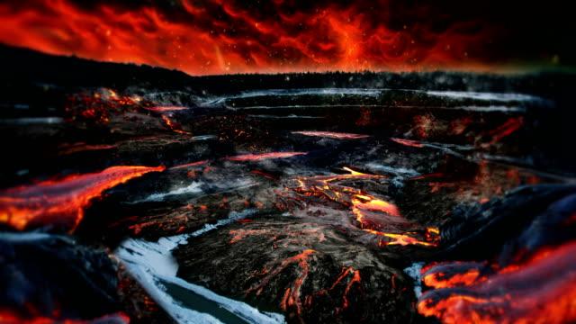 hot vulcano scenery - incendio video stock e b–roll