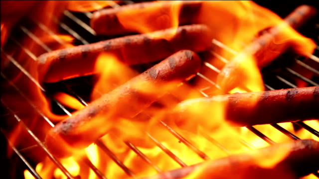 Hotdogs on a Charcoal BBQ video