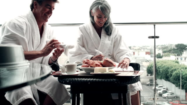 SLOW MOTION - Hotel Couple Breakfast Wireless video