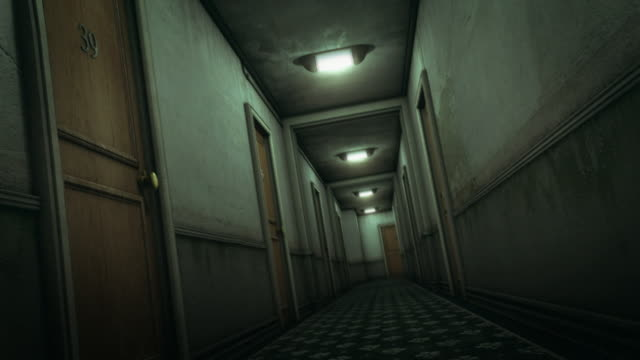 Hotel hallway scary scene (preview darker than video) video
