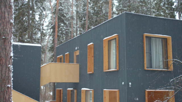 Hotel in a pine forest. Winter holidays