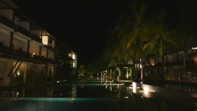 HD Hotel pool at night video